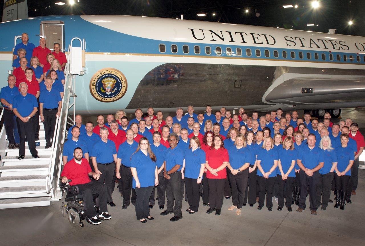 C&E Family standing by Air Force One