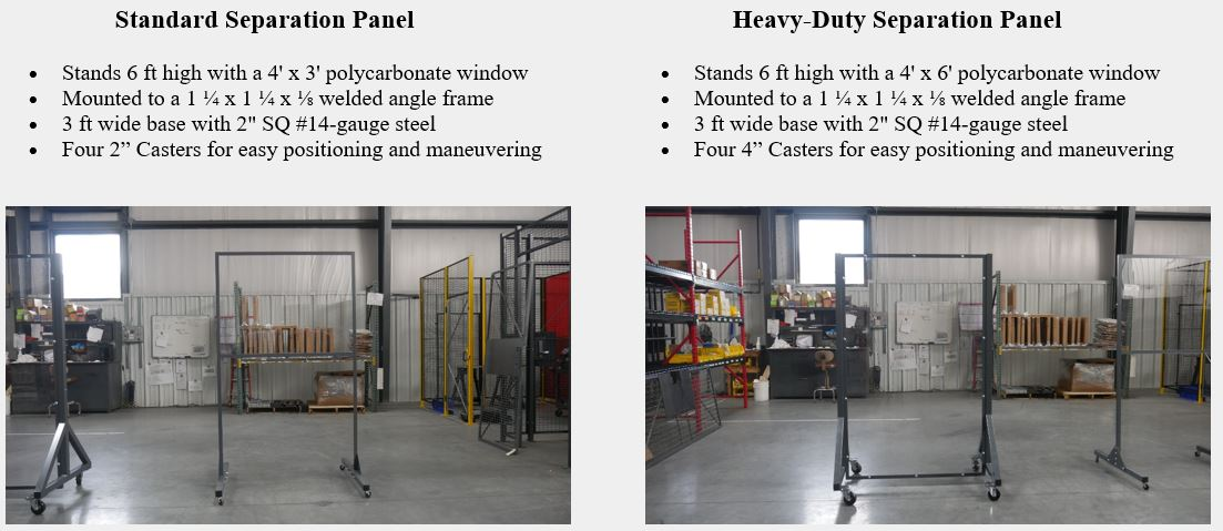 Standard and Heavy-Duty Separation Panels