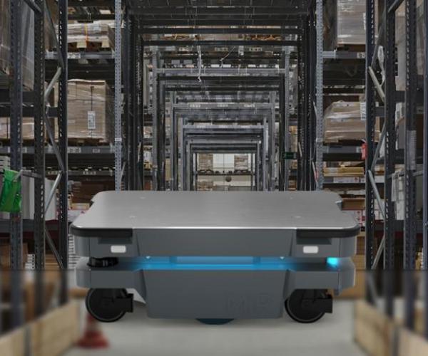 MiR 250 Autonomous Mobile Robot in Warehouse
